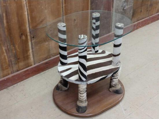 Zebra Foot End Table Taxidermy