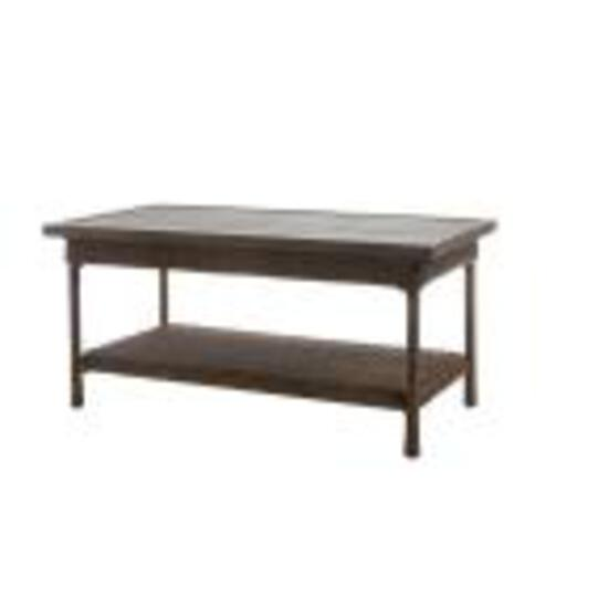 Patio Coffee Table Wicker w/ Slat Top