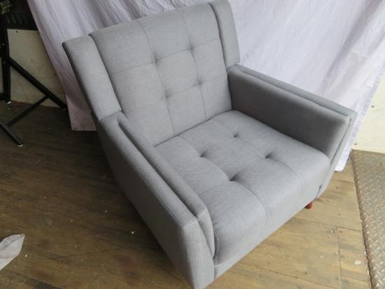Mid-Century Modern Tufted Gray Fabric Armchair