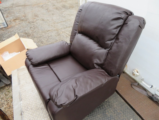 Nathaniel Home Brown Bonded Leather Glider Reclinr