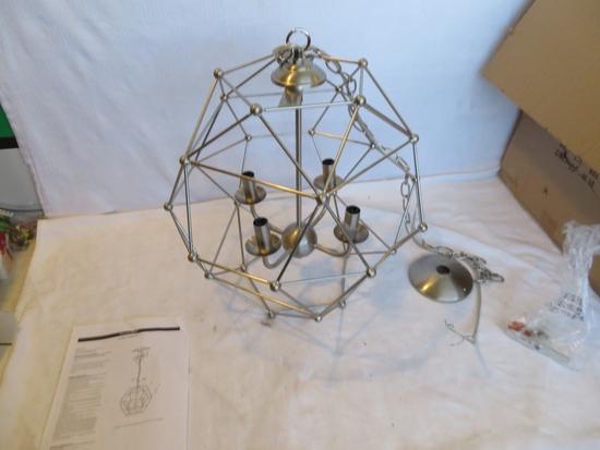 4 Light Hexagon Nickel Pendant