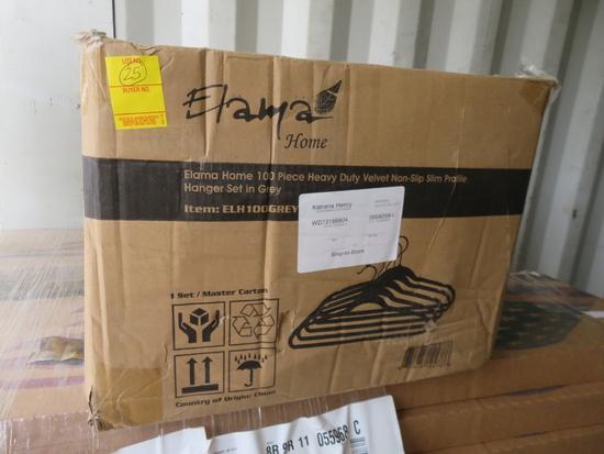 Case of 100 Elama Grey Heavy Duty Lelvet Hangers