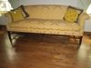 Chippendale Style Down Cushioned Sofa w/ Regal Damask Gold Satin Weave Upholstery