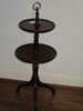 Petite Mahogany Two Tier Pedestal Dumbwaiter Table w/ Brass Ring Finial