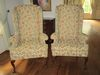 Pair Elegant Queen Anne Wingback Chairs