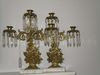 Pair Baroque Style 3 Arm Brass Candelabras