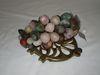 Lot - Stone Carved Grapes & Brass Trivet
