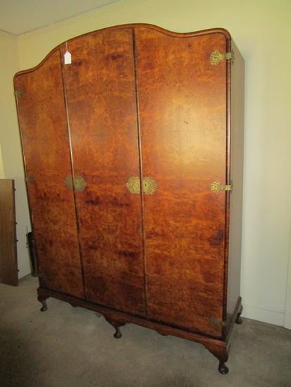 Beautiful Early Armoire w/Birdseye Maple Veneer.  Converted to TV Cabinet