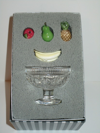 Waterford Mini Compote w/Miniature  Fruit in box