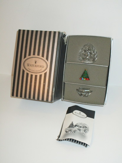 Waterford Crystal Egg w/Christmas Tree in box   (Damage to box - see pictures)