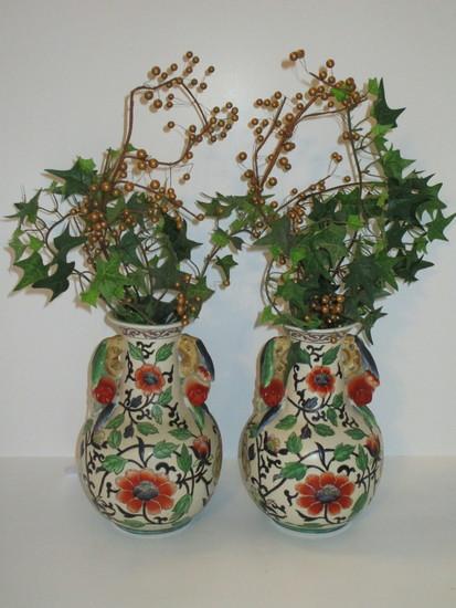 """Pair Andrea Ceramic Vases w/Floral Design   8 1/2"""" Tall"""