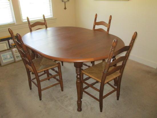 "Oak Table & 4 Ladder Back Chairs w/Rush Seats   66 1/2"" W w/ 1 Leaf & 46 1/2"" W"