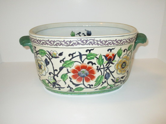 """Andrea Cache Pot - Beautiful Floral Design Inside & Out   11"""" Long x 6""""  Tall"""