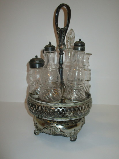 Victorian Cruet Set - 7 Piece   Silverplated Caddy w/6 Glass Jars