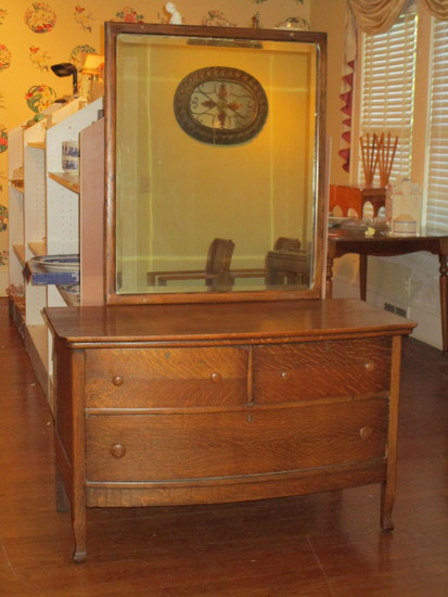 Beautiful Tiger Oak Low Dresser w/ Attached Beveled Mirror - 2 Over 1 Dovetailed Drawers