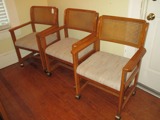 3 Wondercrafters Inc. Mid Century Oak Dining Chairs w/ Cane Backs, Upholstered Seats