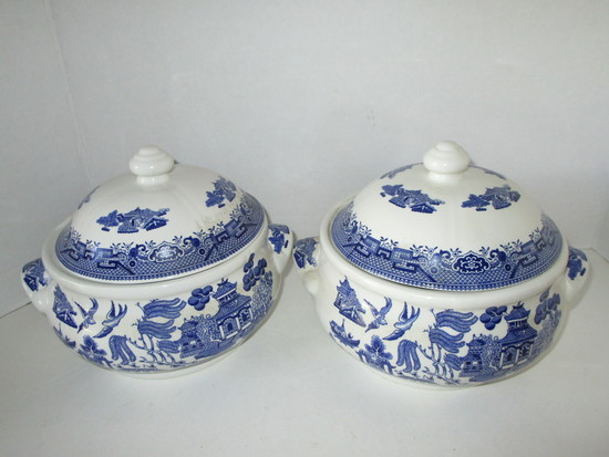 Blue Willow Covered Serving Bowls by Churchill