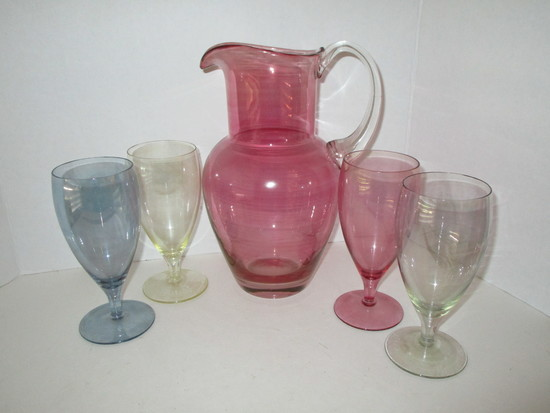 """Blown Cranberry Colored Glass Water Pitcher w/ Applied Handle (10 7/8"""") & 4 Multi Colored"""