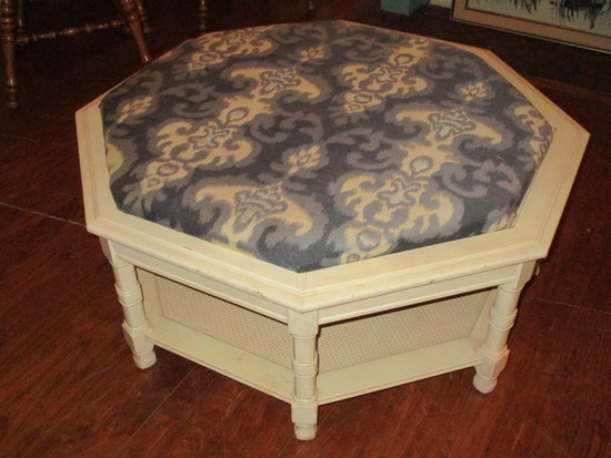 Mid Century Mod Painted Coffee Table w/ Upholstered Insert
