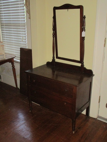 Oak 2 Drawer Dresser w/ Attached Frame for Mirror - Dovetail Drawers, Wooden Pulls on