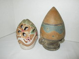 Lot - Misc. Pottery Double Handled Vase (Needs Stand) & 2 pc. Lantern by Judy Brater Rose