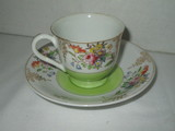 Semi Porcelain Demitasse Cup & Saucer w/ Floral Design by Merritt - Made in Occupied Japan