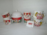 Lot - Campbell's Soup Collectibles - Tureen w/ Ladle, 4 Mugs, 2 Soup Cups & Wrist Band