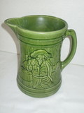 Awesome Pottery Beer Pitcher w/ Green Glaze - No Makers Mark