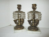 Pair - Ornate Cherub / Koi Fish Candle Sticks on Marble Bases w/ Crystal Prisms
