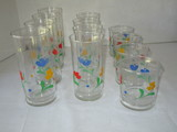 Lot - 12 Clear Glasses w/ Floral Design