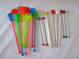 Lot - Misc. Drink Stirrers - Some Brightly Colored Molded Plastic & Some Glass