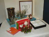Lot - Misc. Serving Tray, Salt & Pepper Sets, Glass Bowls, Christmas Stems, Napkin Rings, etc.