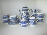 Blue Willow Coffee Service For 8 by Churchill - 21 Total Pcs