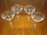 Lot - 4 Floral Etched Tall Sherbets