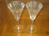 Pair - Etched Crystal Wine Glasses w/ Floral Pattern