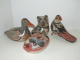 Collectible Lot - 4 pcs Mexican Art Pottery Animal Figurines Artist Signed J.F. Solis, Mexico