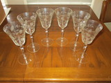 Lot - 6 Etched Crystal Wine Glasses