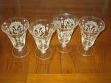 Lot - 4 Elegant Etched Crystal Footed Water Glasses
