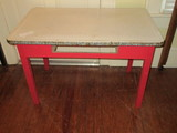 Mid Century Mod Enamel Top Kitchen Table w/ Painted Red Wooden Base