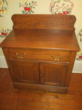 Vintage Oak Wash Stand on Wooden Casters, Dovetail Drawer, Pulls Have Been Replaced