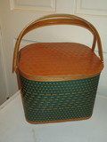 Woven Picnic Basket w/ Hinged Lid
