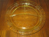 Topaz Depression Glass Divided Plate - Patrician (Spoke) Pattern by Federal