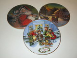Lot - 3 Collectors Plates w/ Christmas Scenes copyright 1987, 88 & 91 Avon