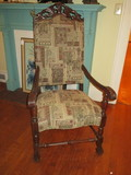 Heavily Carved High Back Accent Chair w/ Tapestry Design Upholstery
