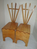 Pair - Hand Crafted Wooden Chairs/ Displays