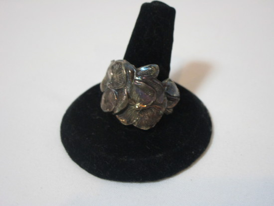 Silver Floral Ring (No Marks but Appears to Be Sterling)
