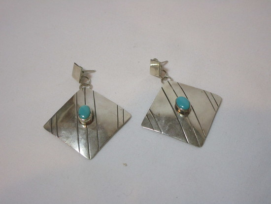 Pair - Square Sterling Earrings w/ Turquoise Stone - Marked H. Wood - Sterling