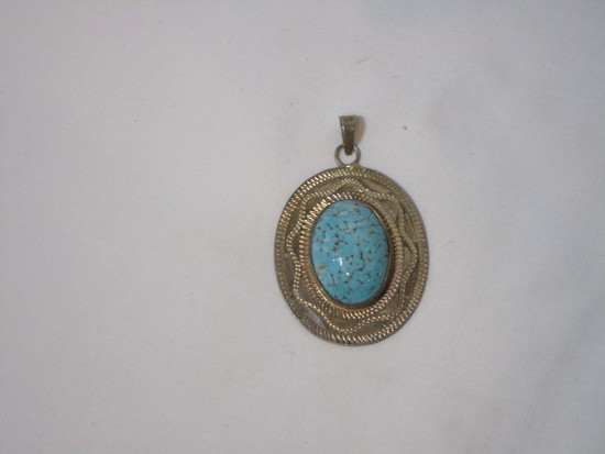 Sterling Pendant w/ Turquoise Stone - Marked Made In Mexico Sterling