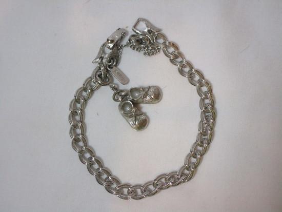 Monet Silver Charm Bracelet w/ Baby Shoe Charms