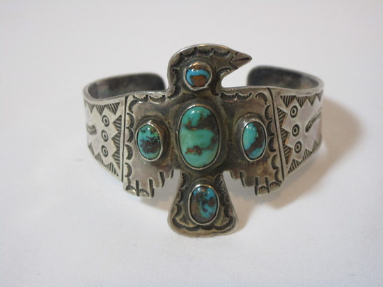 Impressive Phoenix Bird Cuff w/ Turquoise Stones